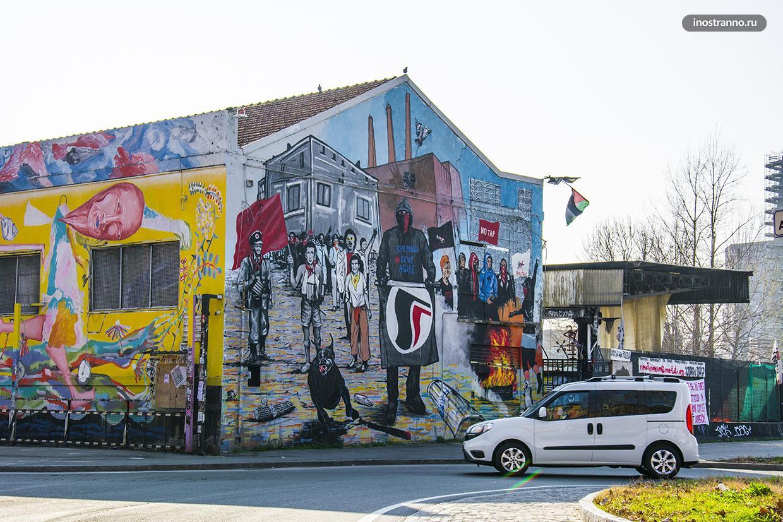 Нетуристические места Болоньи граффити и стритарт