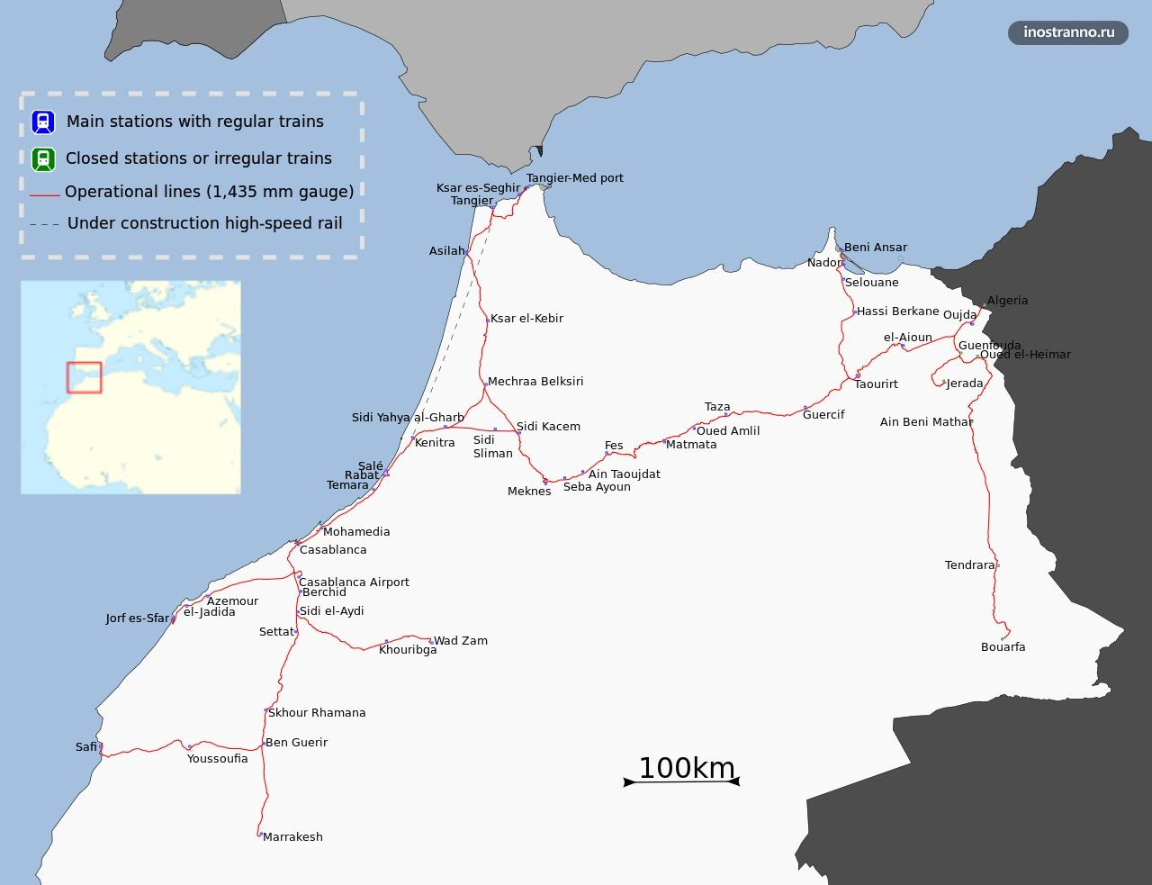 Маршрутная сеть железнодорожного транспорта в Марокко