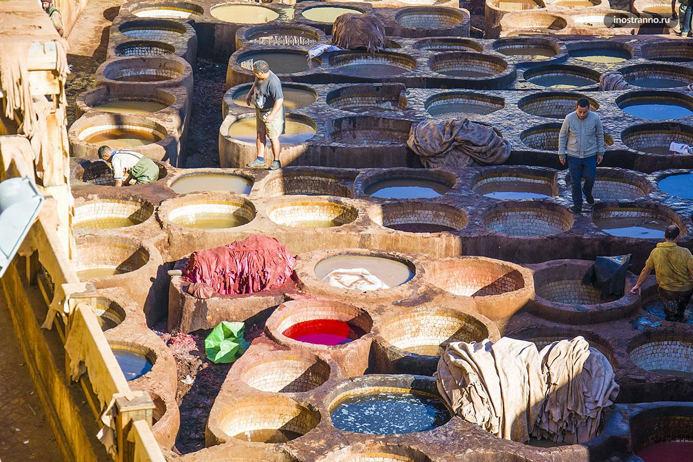 Традиционные кожевенные красильни в городе Фес