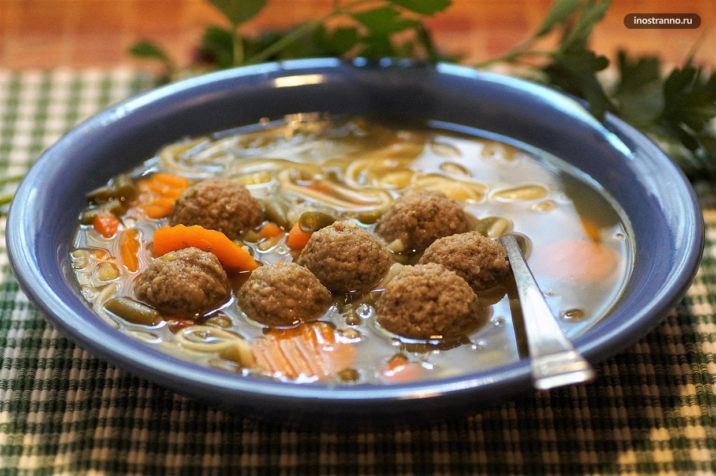 Суп с печеночными фрикадельками