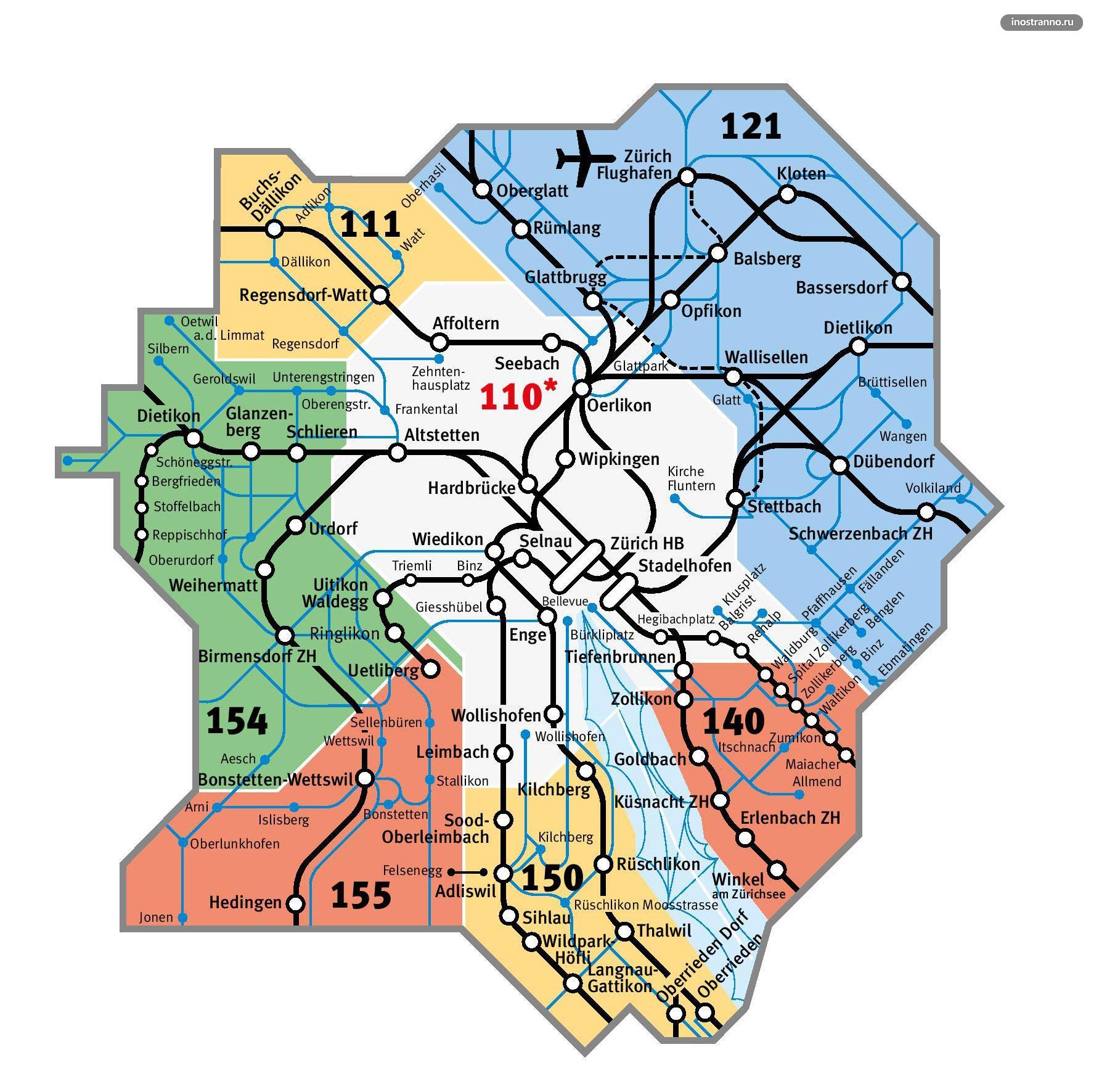 Карта тарифных зон Цюриха