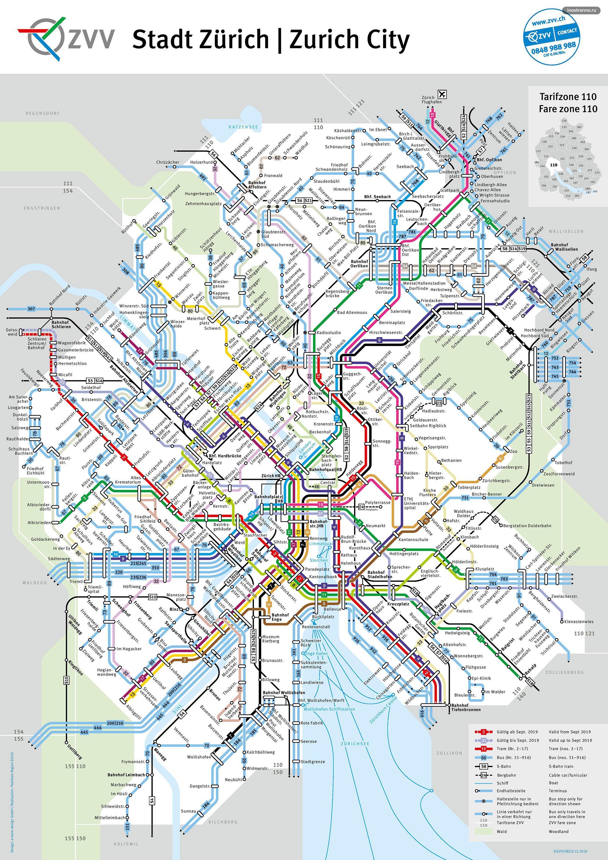 Карта трамваев и автобусов Цюриха
