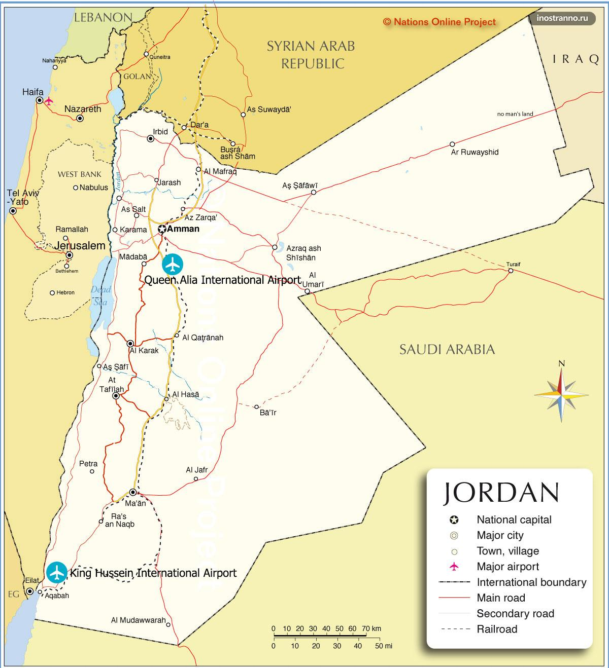 Аэропорты Акаба и Амман на карте Иордании