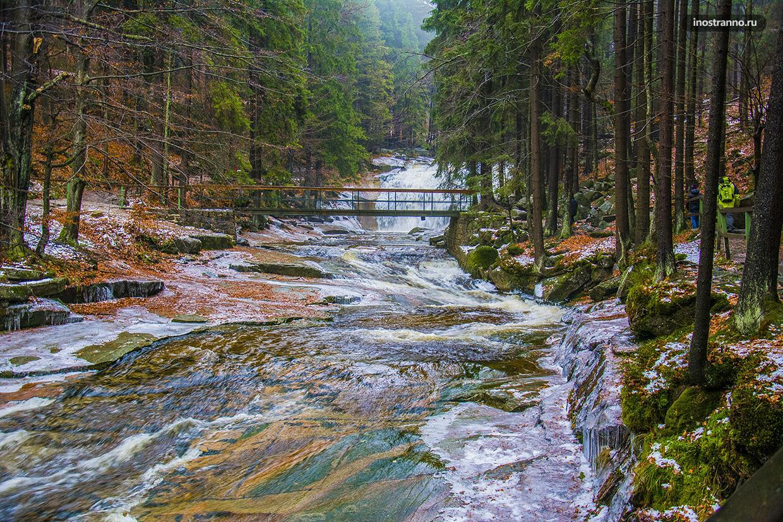 Мумлавский водопад в Гаррахове в Чехии