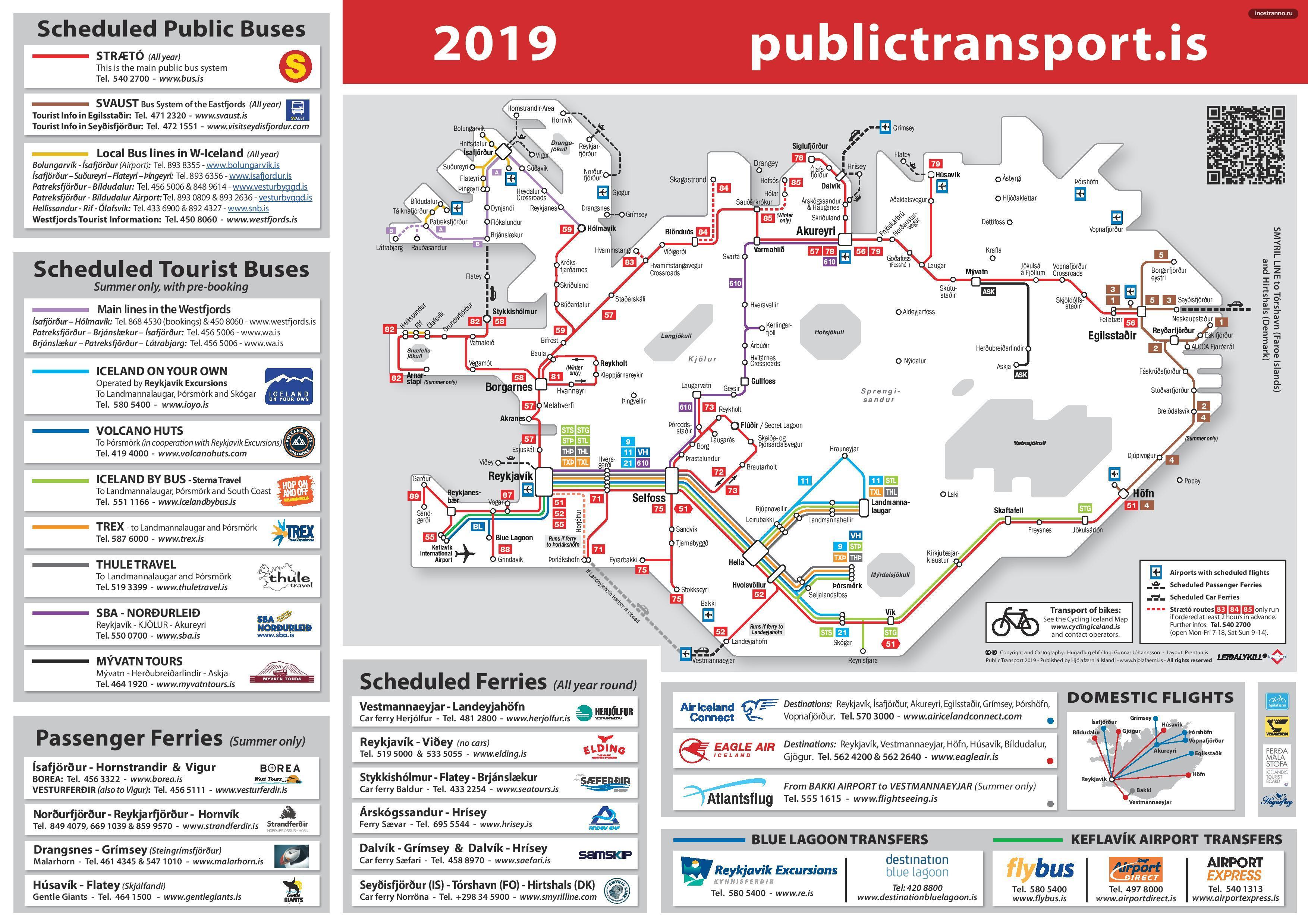 Карта общественного транспорта Исландии