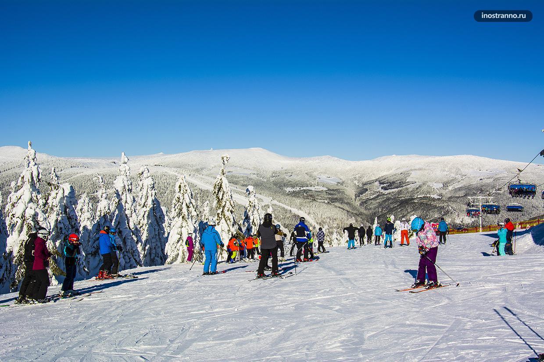 Горы Крконоше зимой в Чехии