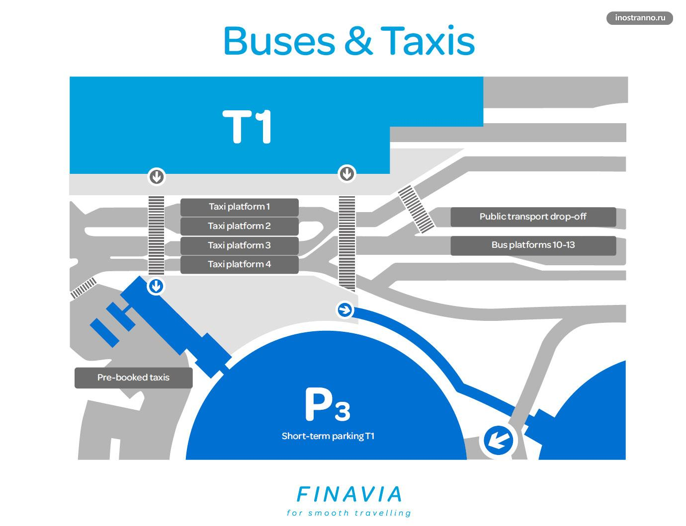 Платформы автобусов у терминала 1 аэропорт Хельсинки