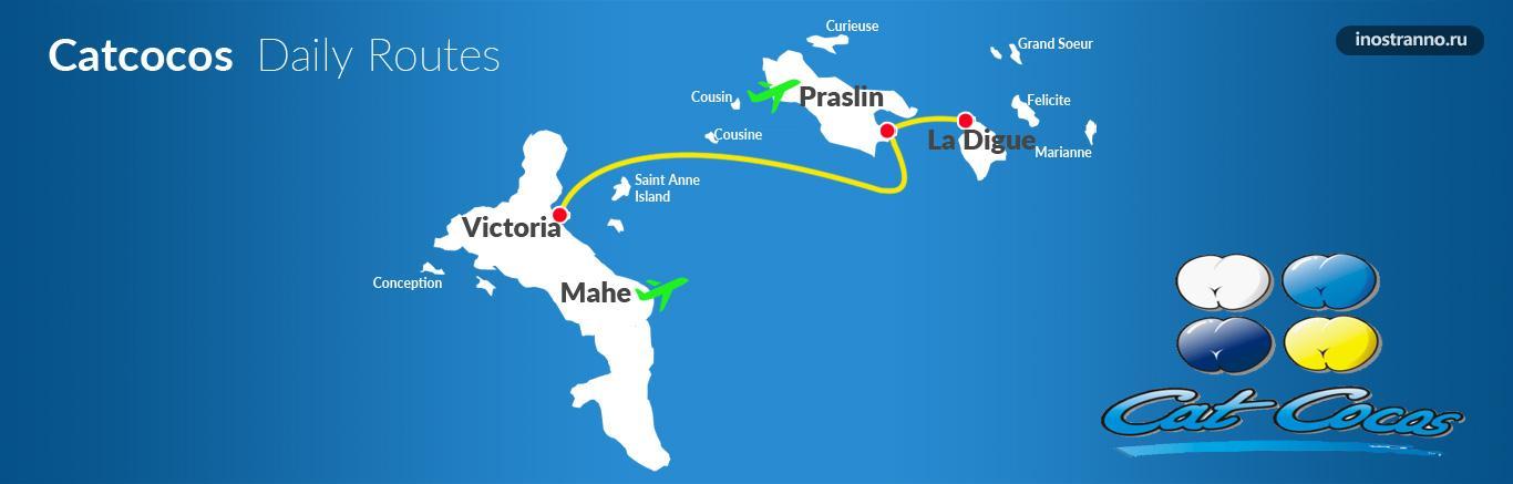 Карта с маршрутами парома CatCocos