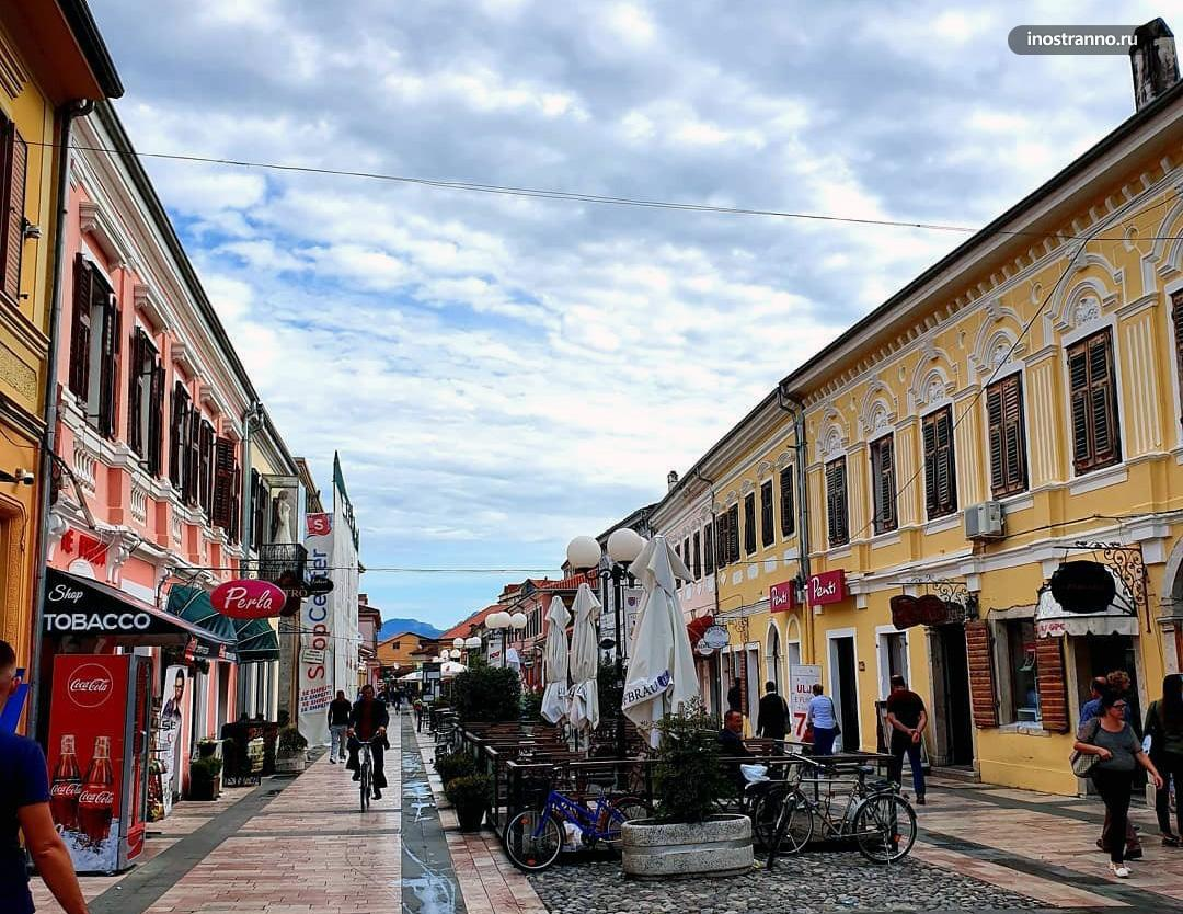 Пешеходная улица Коль Идромено в Шкодере