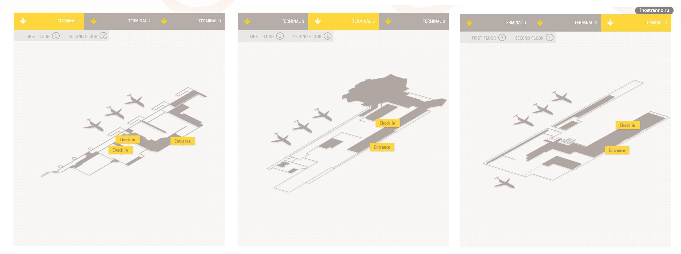 Аэропорт Канкун карта терминалов