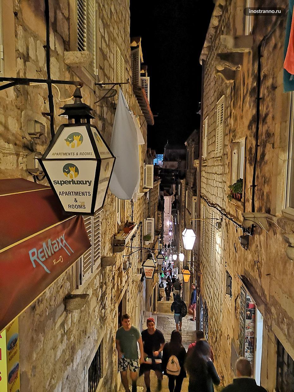 Ночное фото Дубровника