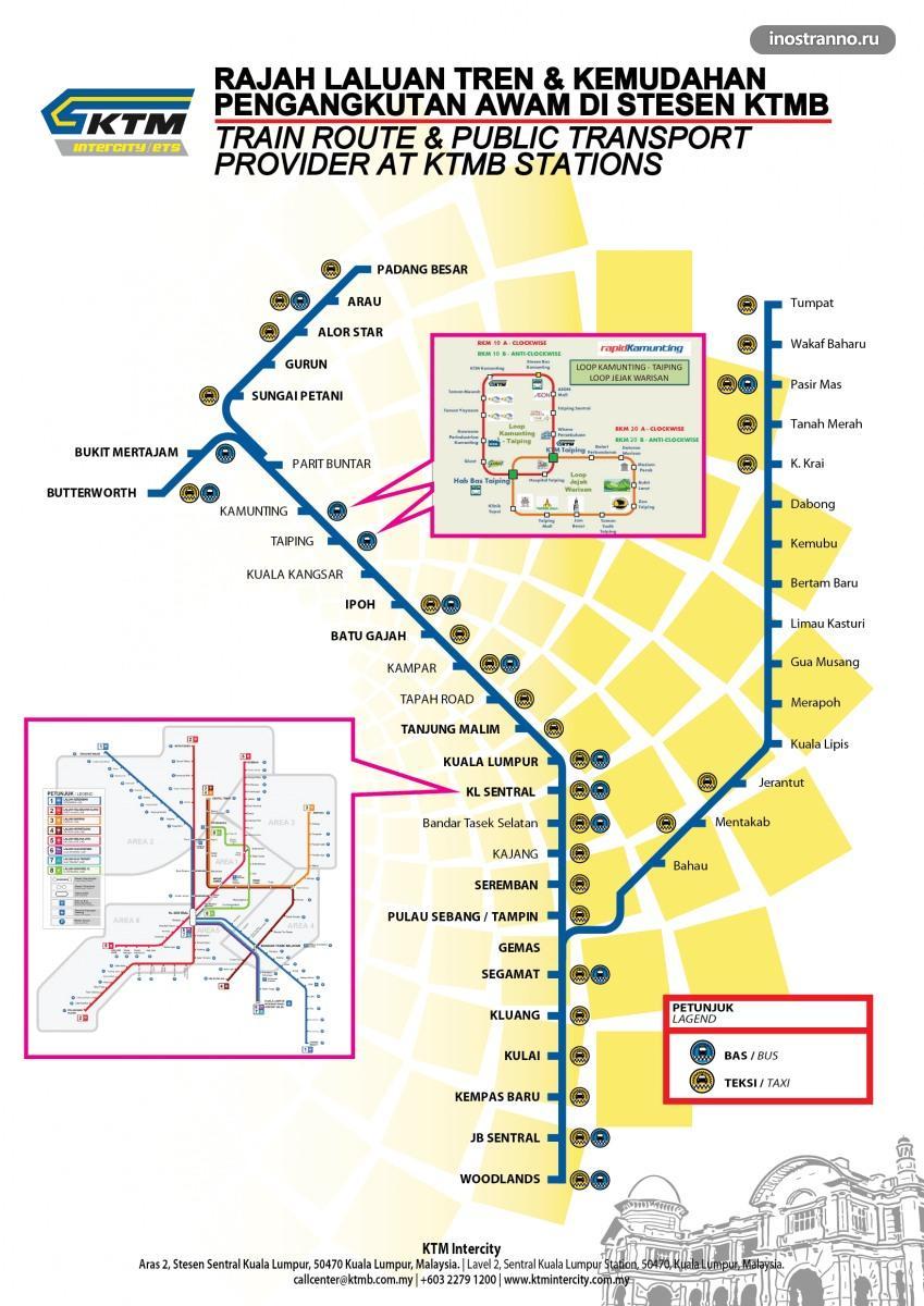 Карта поездов в Малайзии