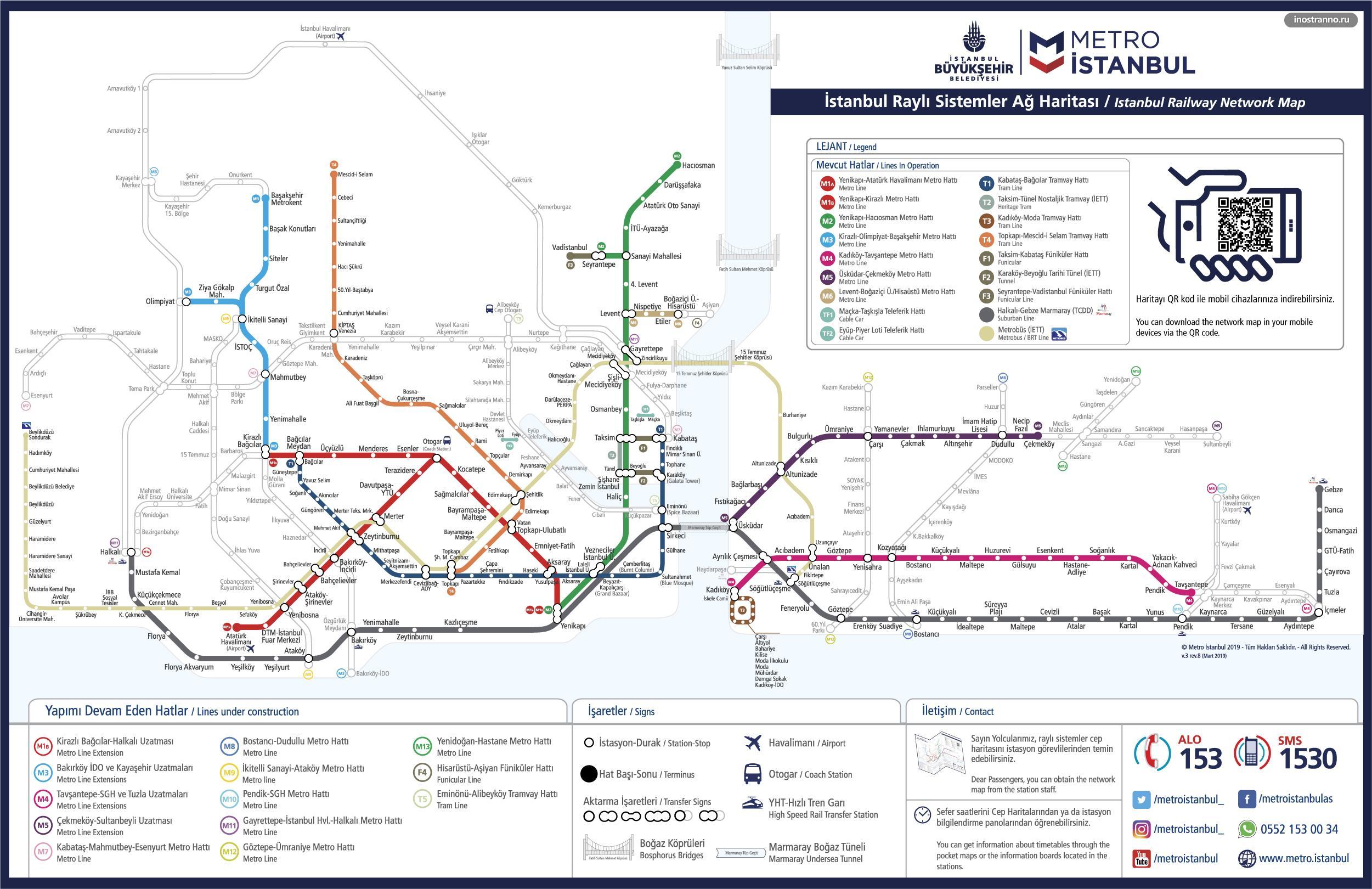 Карта схема метро Стамбула