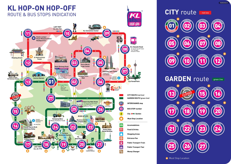 Куала-Лумпур карта туристических автобусов