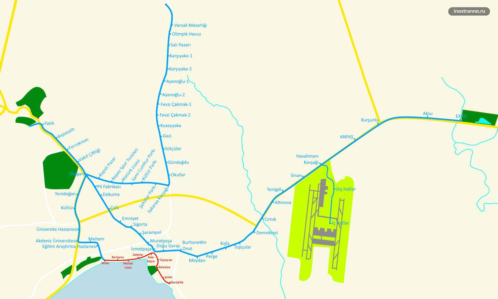 Карта схема метро Анталии