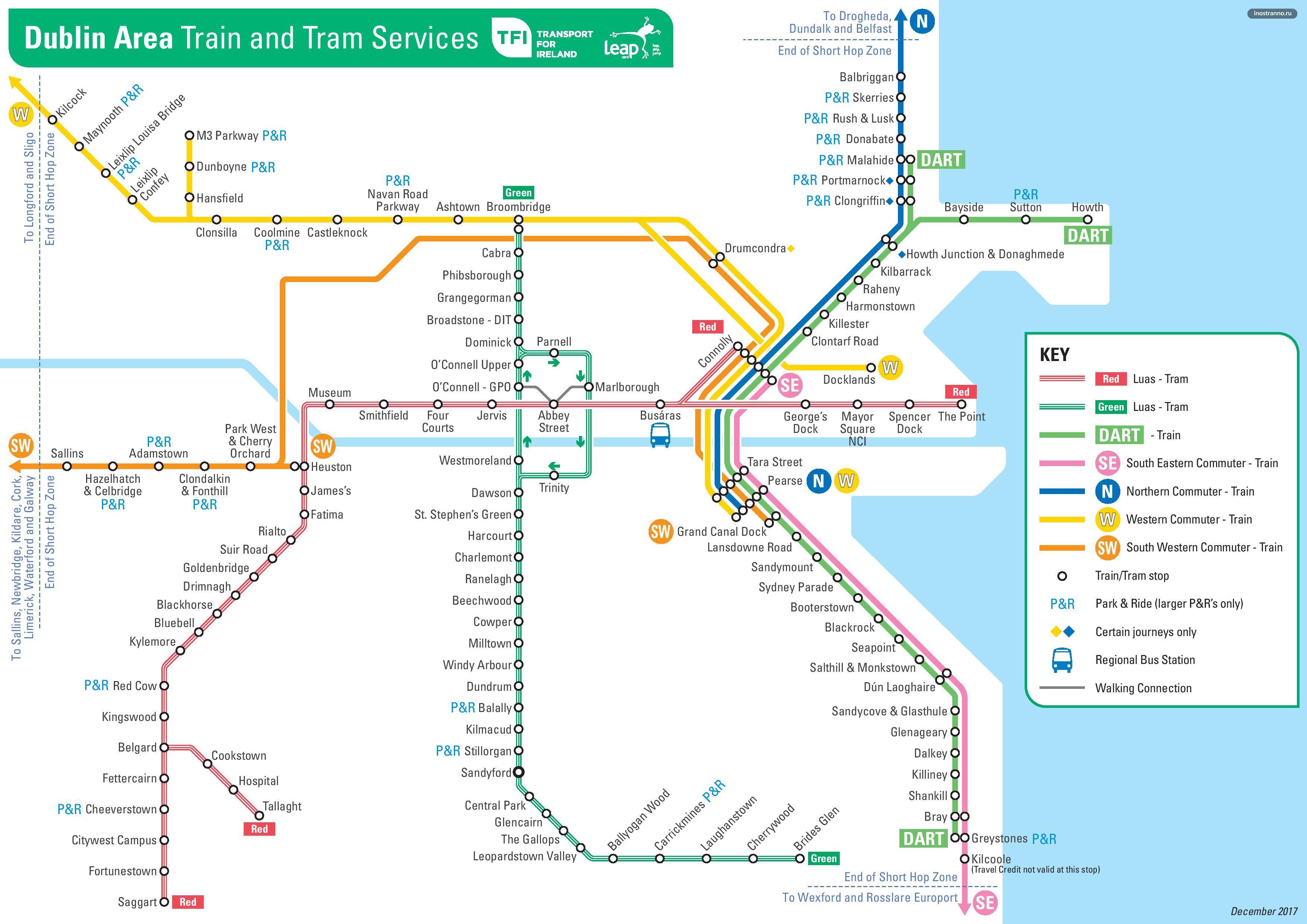 Карта схема трамваев и поездов Дублина