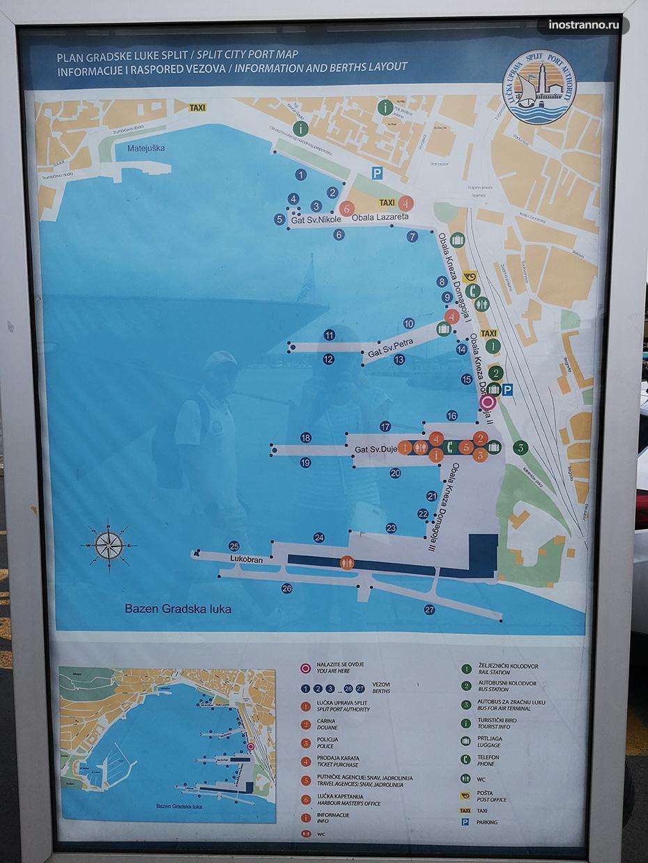 Карта порта Сплита