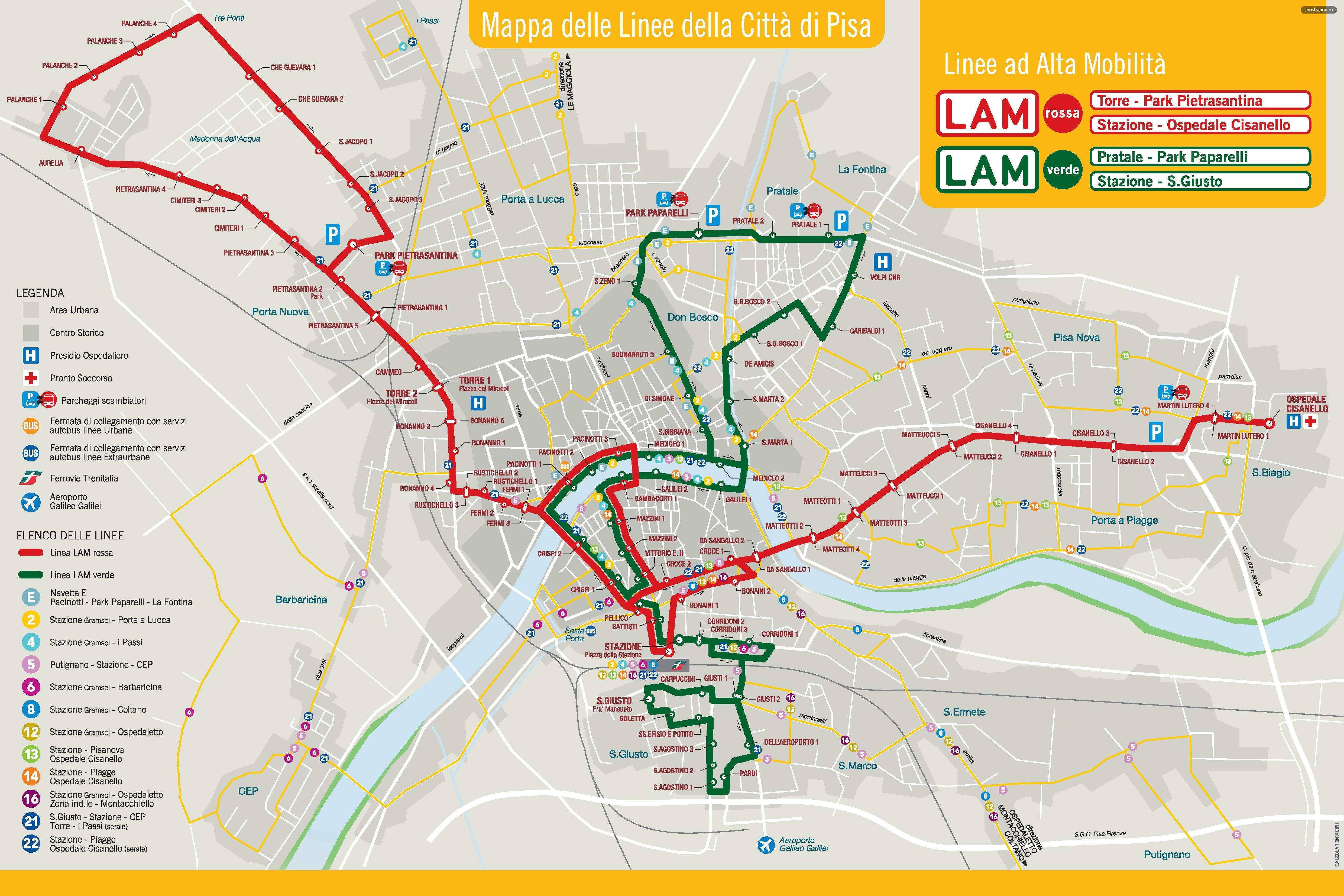 Автобусы Пизы карта схема маршруты