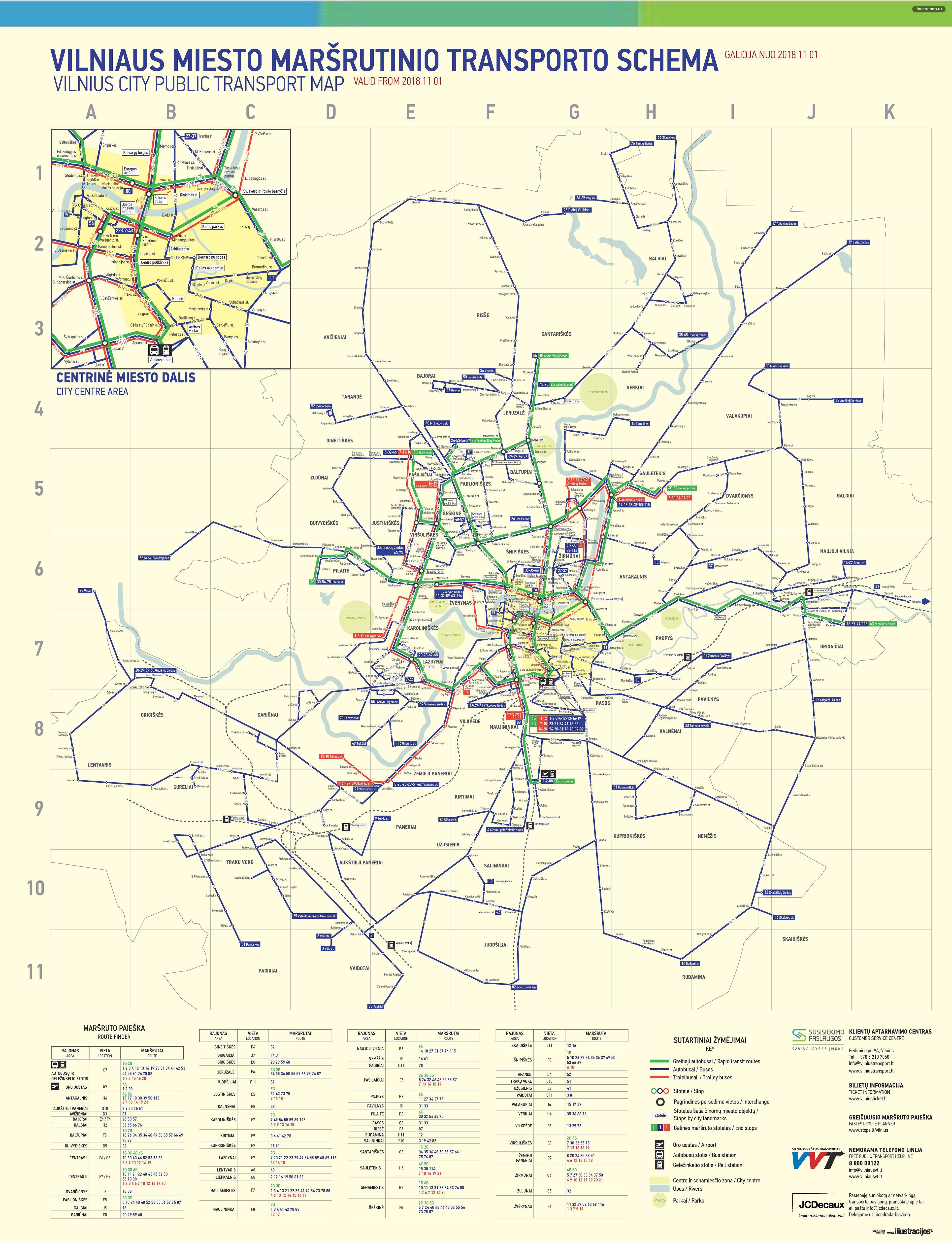 Карта маршрутов общественного транспорта Вильнюса