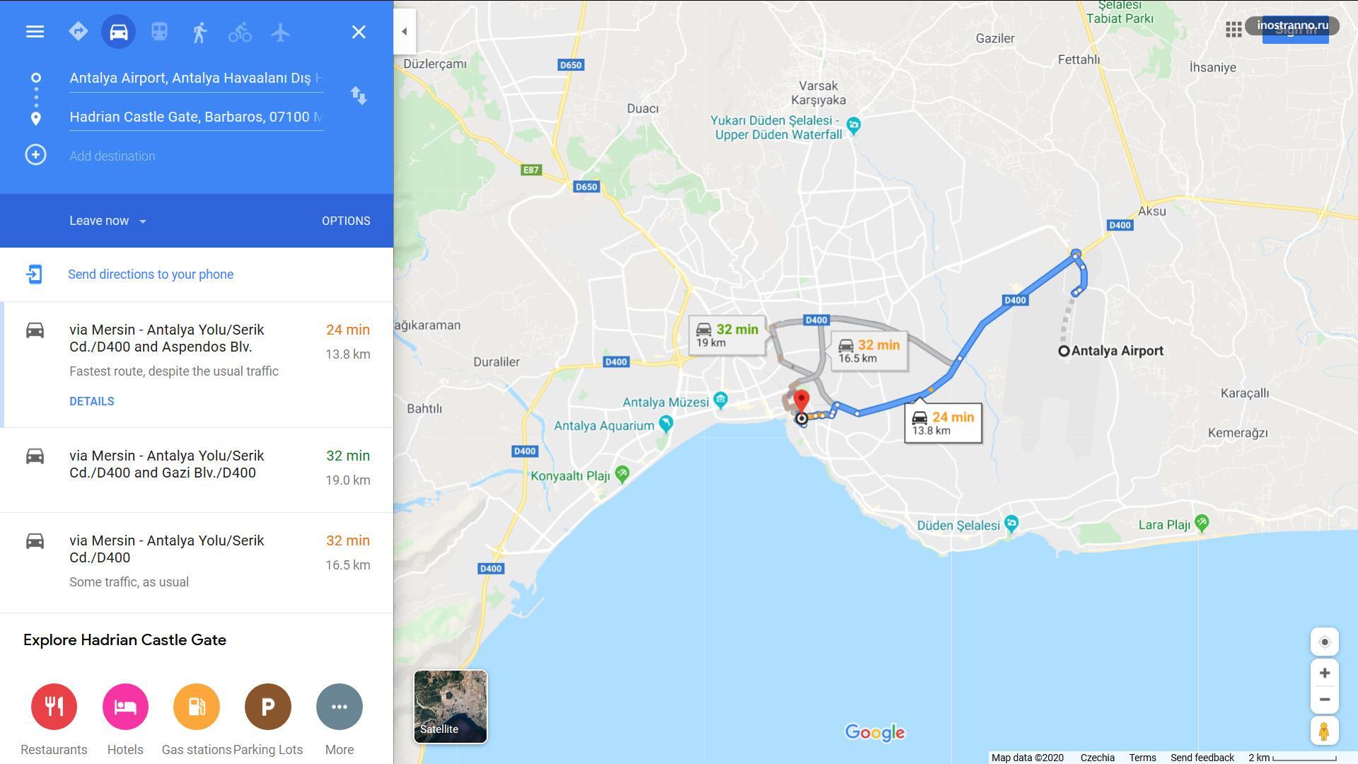 Анталья аэропорт на карте