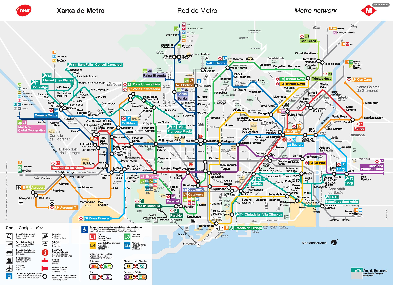 Карта схема метро, электричек и трамваев Барселоны