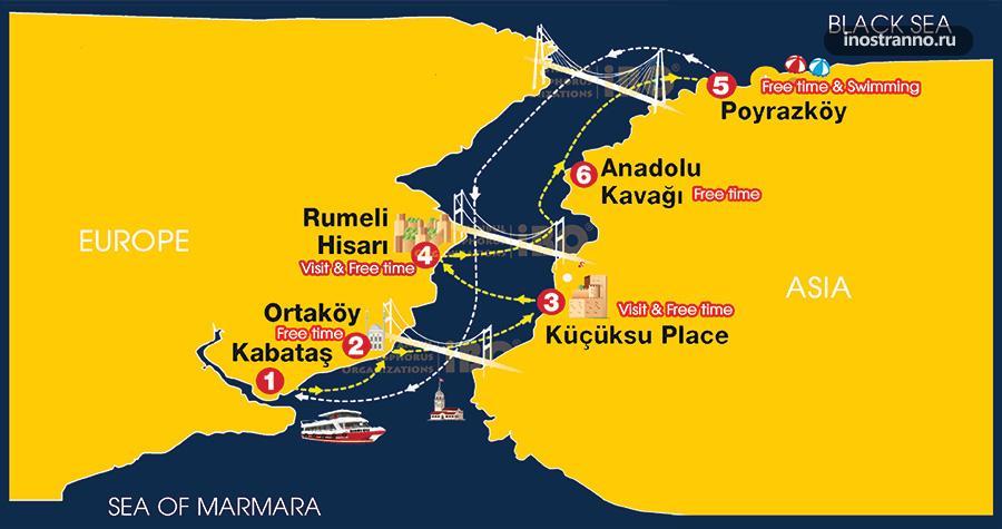 Мосты Стамбула через Босфор на карте