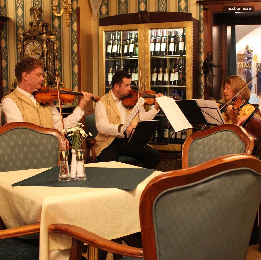 Cafe Mozart кафе в Праге с живой классической музыкой