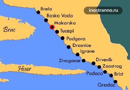 Карта Макарской ривьеры Хорватия