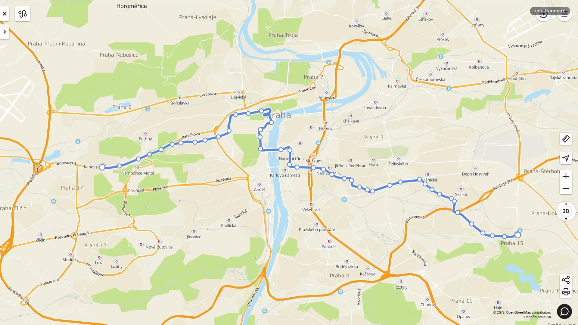 Карта схема трамвай 22 Прага