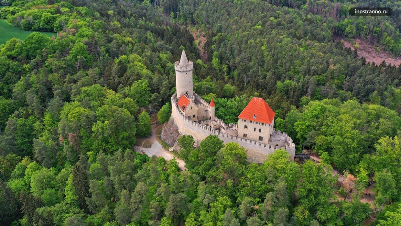 Панорама замка Кокоржин с дрона