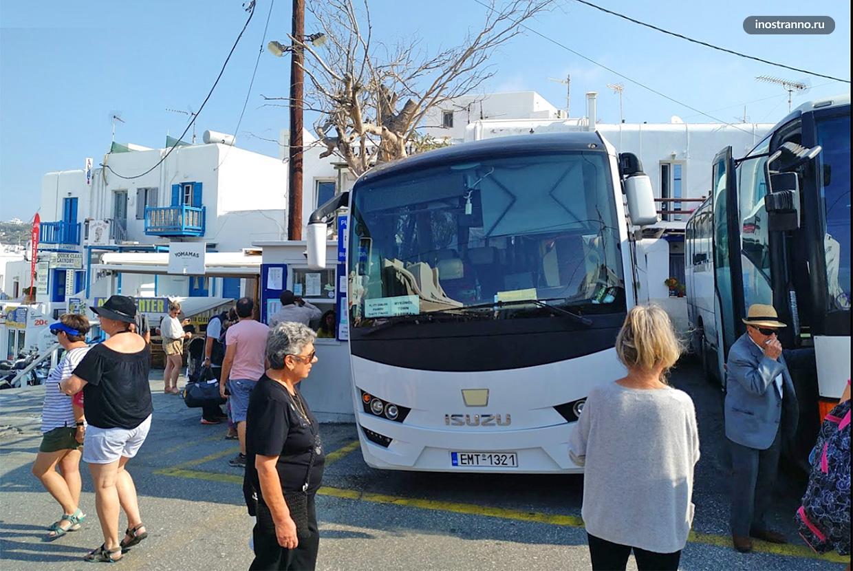 Миконос автобус и общественный транспорт