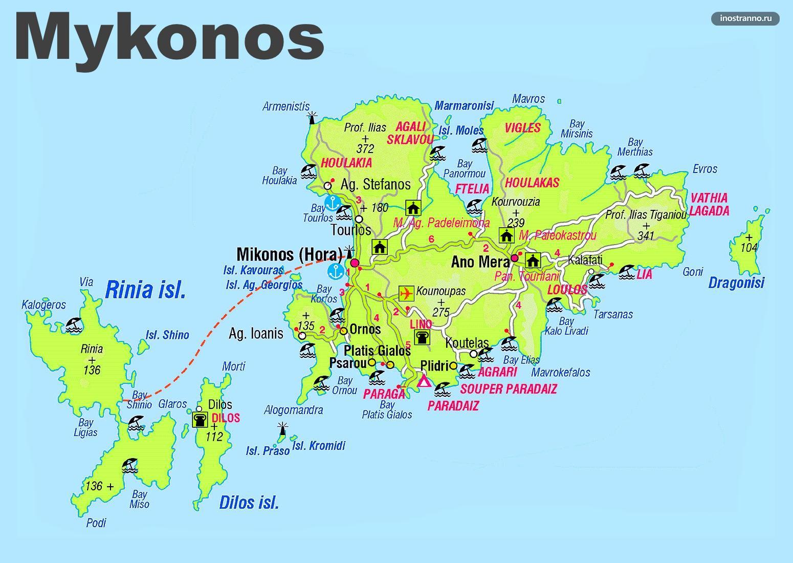 Миконос карта пляжей, курортов и городове