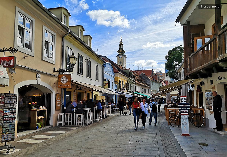 Пешеходная улочка в старом городе Загреба
