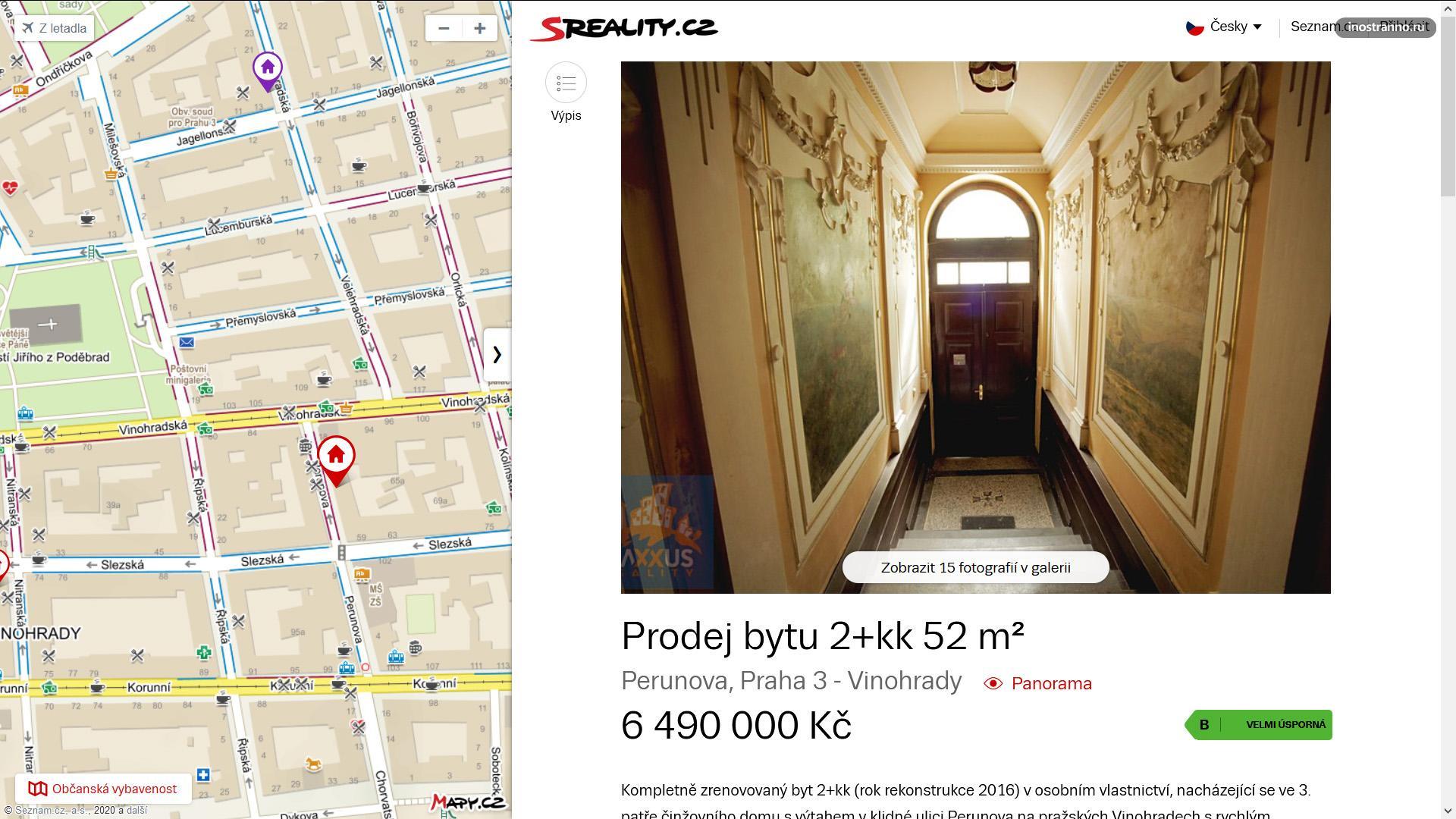 Двухкомнатная квартира в районе Вингорады в Праге
