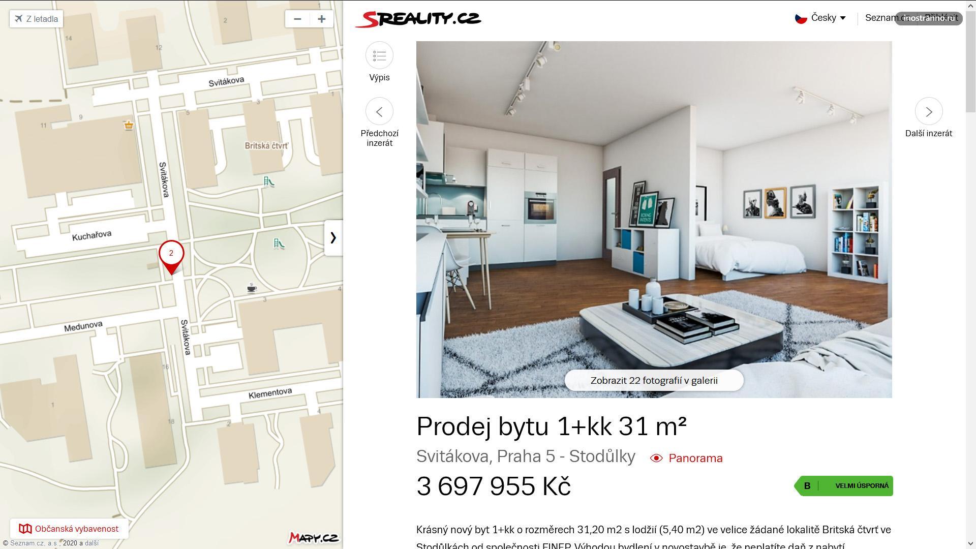 Однокомнатная квартира в новостройке в Праге
