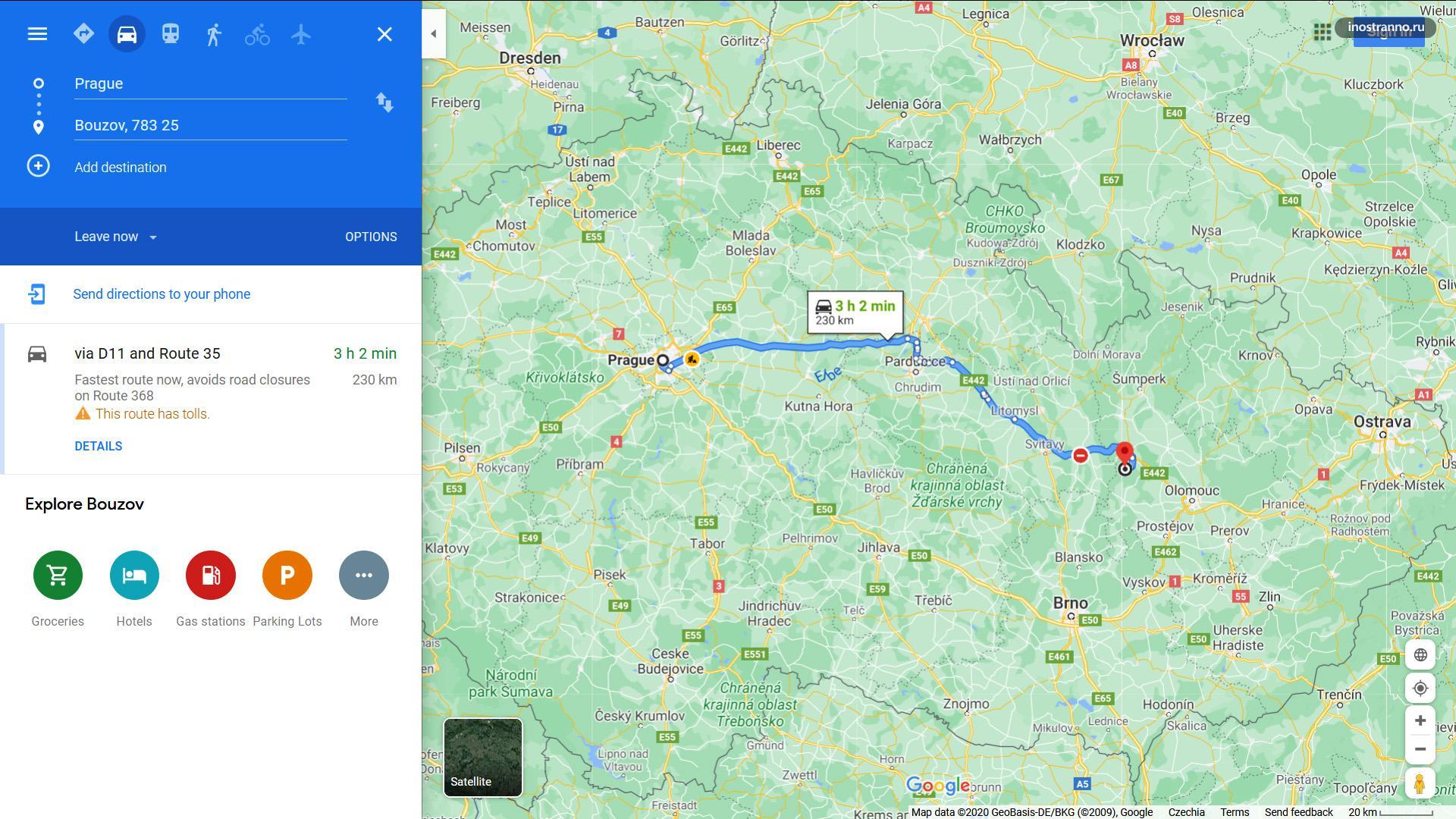 Замок Боузов на карте и как добраться из Праги