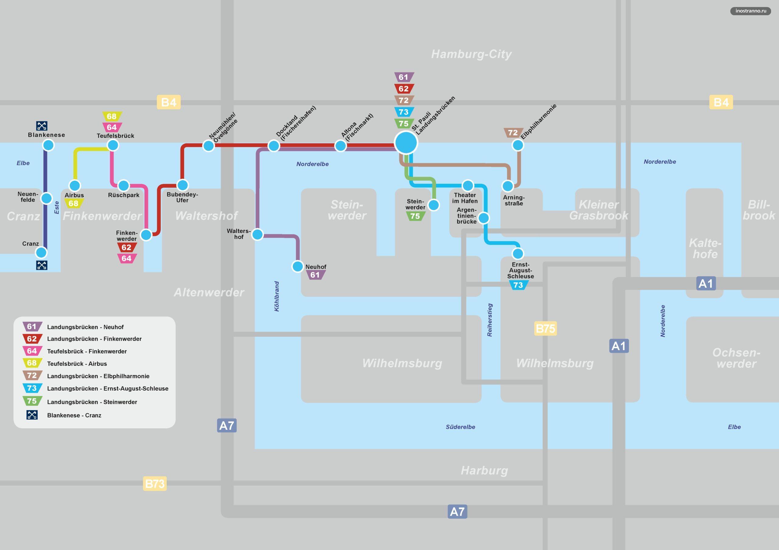 Карта-схема паромов в Гамбурге