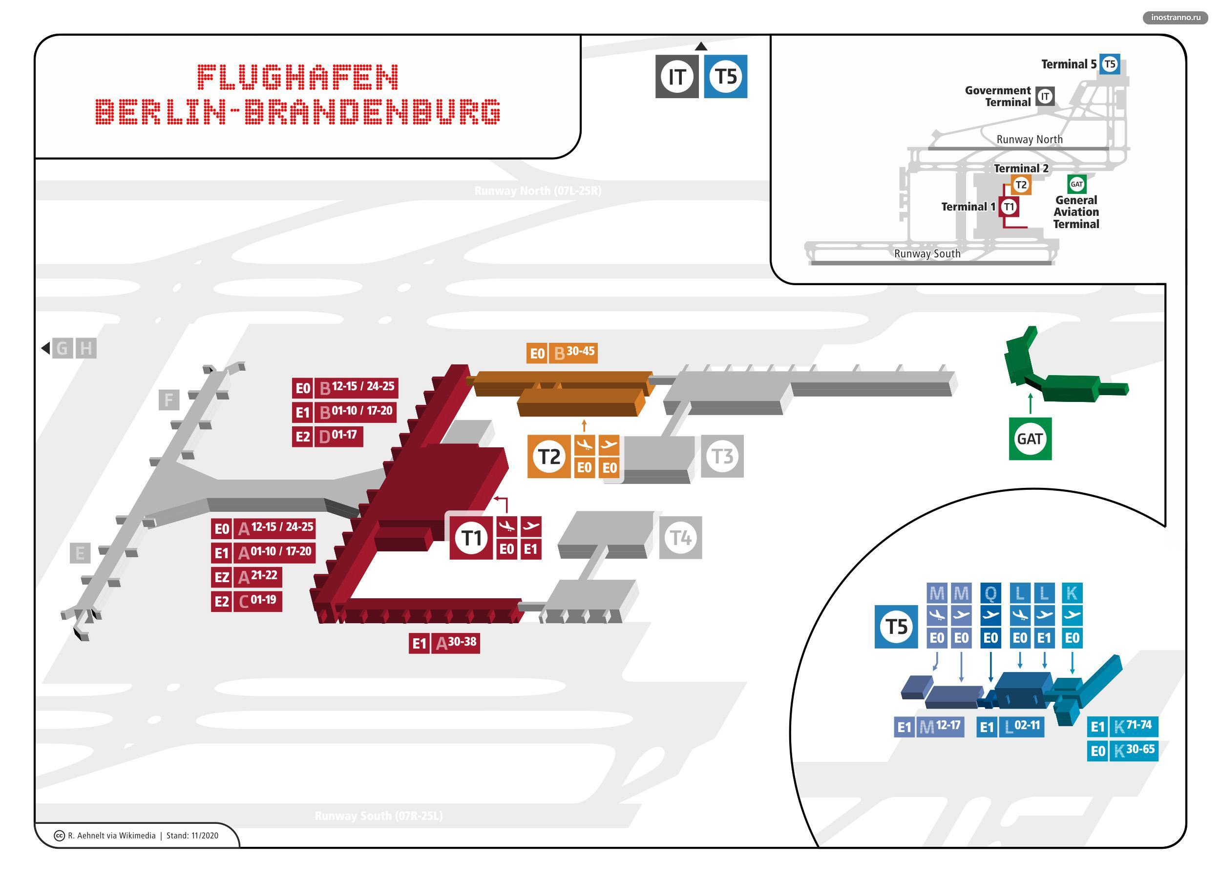 Новый аэропорт Берлин-Бранденбург карта схема