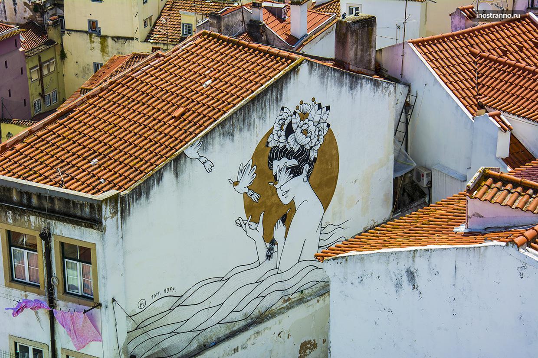Изящное граффити мурал в Лиссабоне