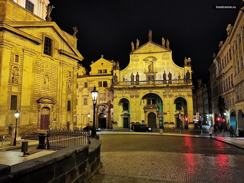 Церковь в Праге ночью
