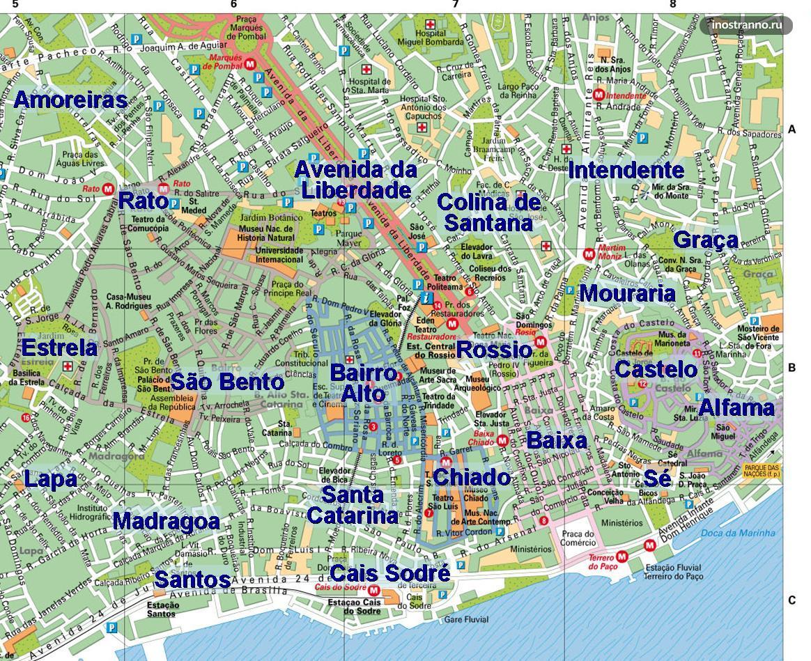 Карта районов Лиссабона