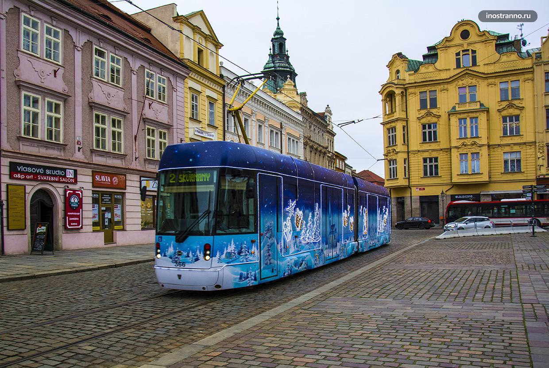Пльзень общественный транспорт Рождественский трамвай