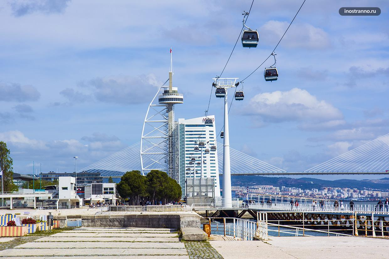 Башня Васко да Гама и канатная дорога в Лиссабоне