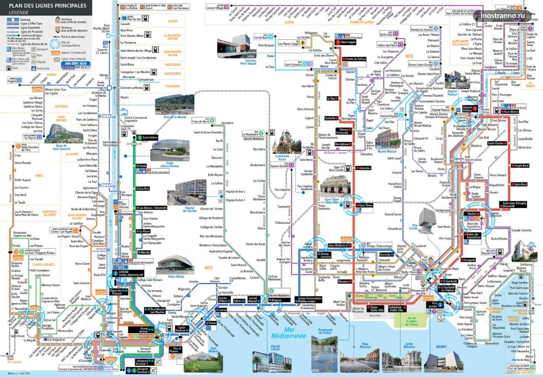 Карта и схема трамваев Ниццы