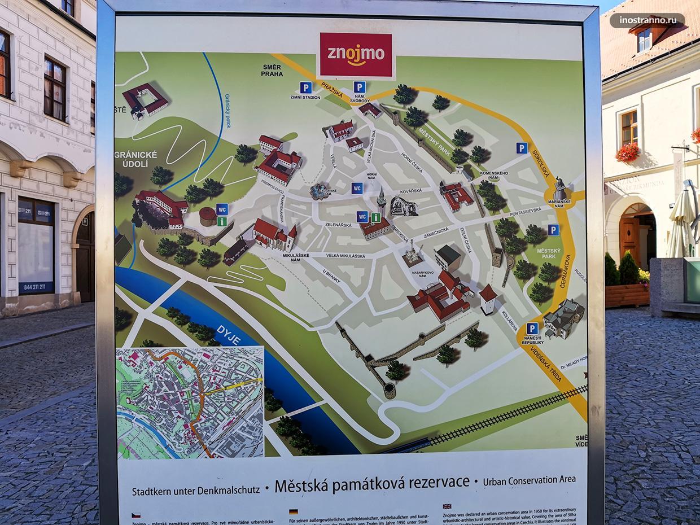 Карта чешского города Зноймо