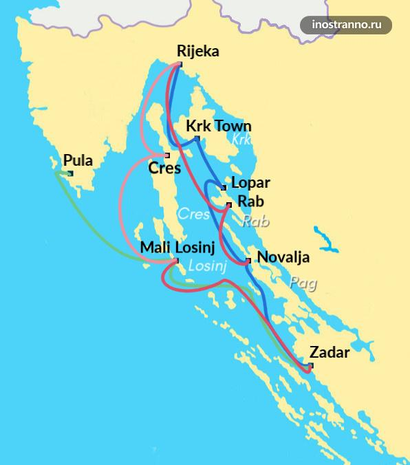 Карта маршрутов паромов Хорватии