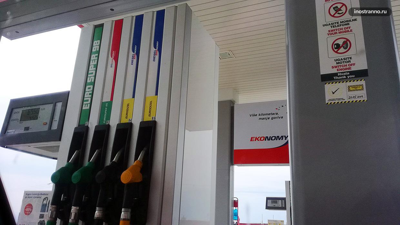 Цены на бензин в Черногории