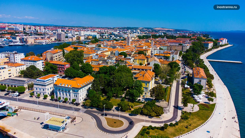 Фото города Задар в Хорватии с дрона