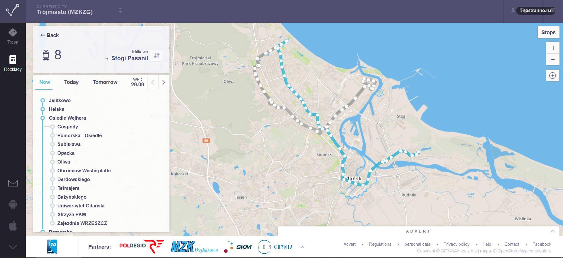 Карта схема трамваев Гданьска