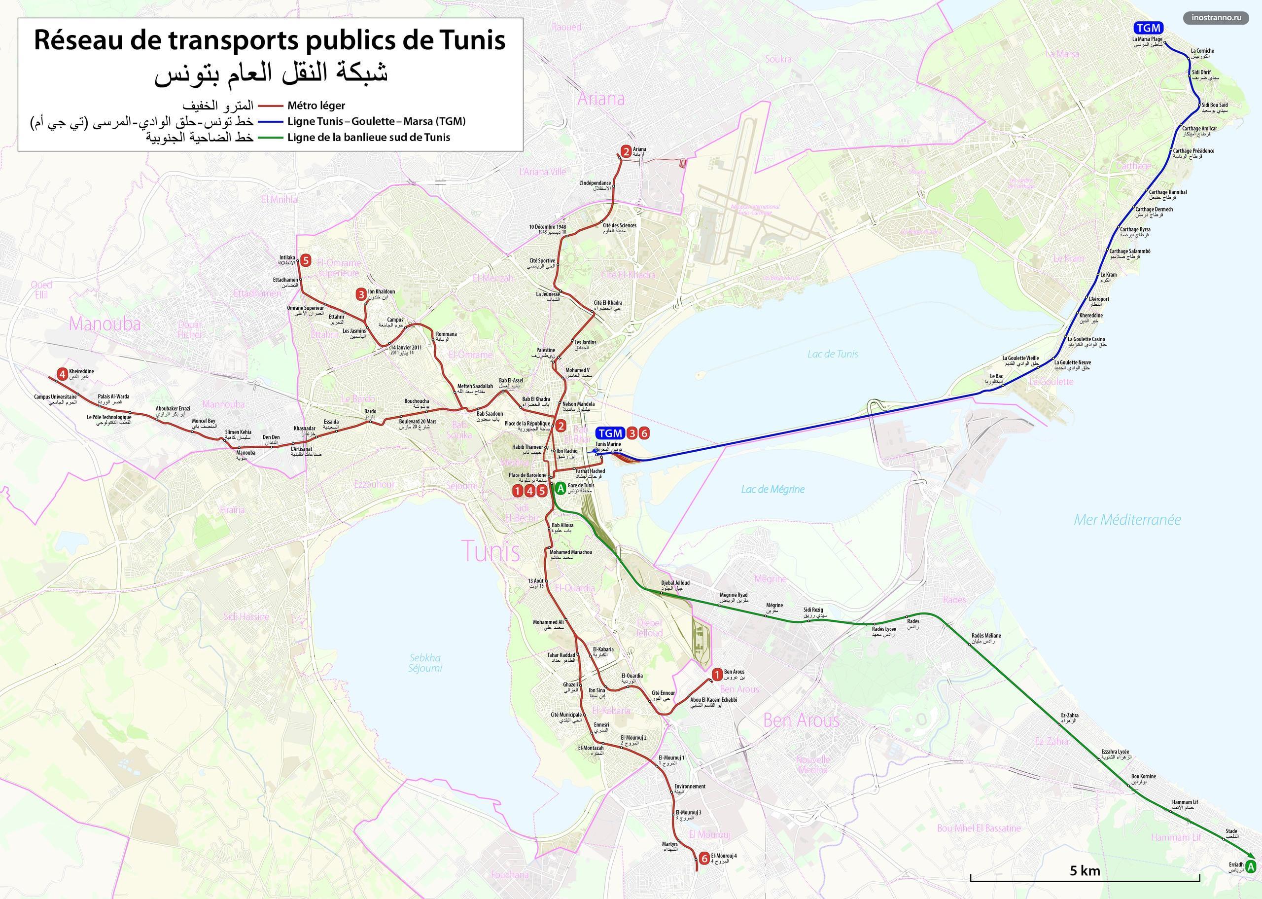 Метро в Тунисе карта схема